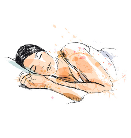 Colored hand sketch of a sleeping woman. Vector illustration Ilustração