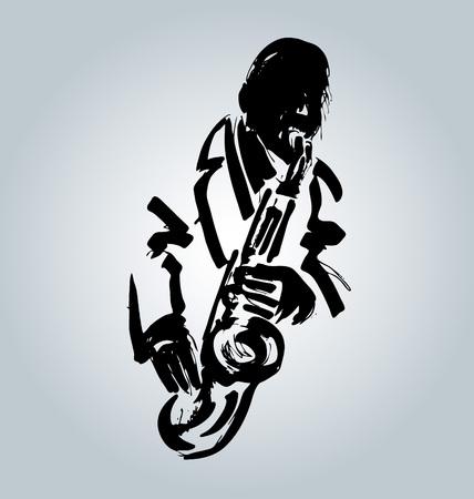 Jazzman de croquis de vecteur avec saxophone. Illustration vectorielle