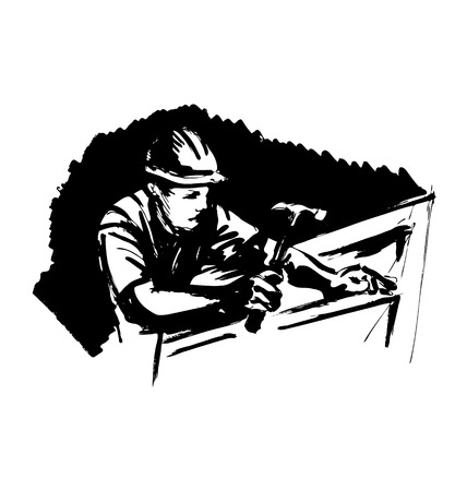 Hand sketch worker with a hammer on a black background. Vector illustration