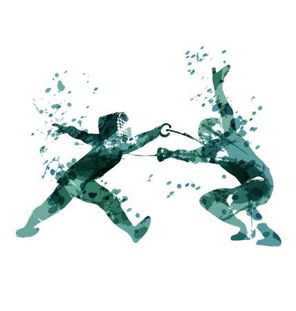 Watercolor Silhouette fencers. Vector illustration Ilustração