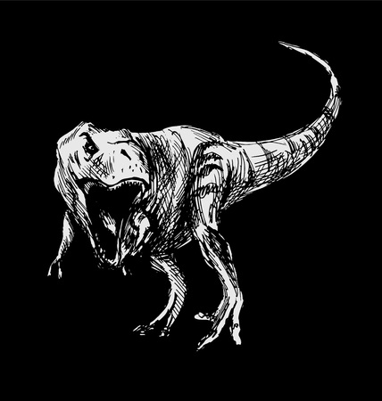 Tyrannosaurus hand drawing on a black background. Vector illustration