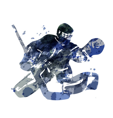 Watercolor silhouette hockey goalie. Vector illustration