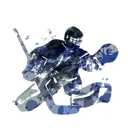 Watercolor silhouette hockey goalie. Vector illustration