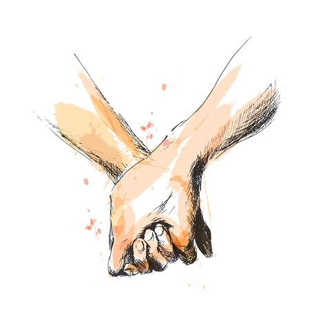 Croquis à la main en couleur tenant la main. Illustration vectorielle Vecteurs