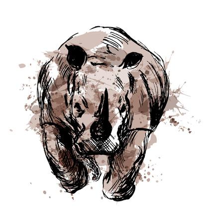 실행중인 rhino의 컬러 손 스케치입니다. 벡터 일러스트 레이 션 일러스트