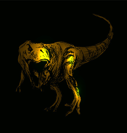 Vector illustration tyrannosaurus on a black background