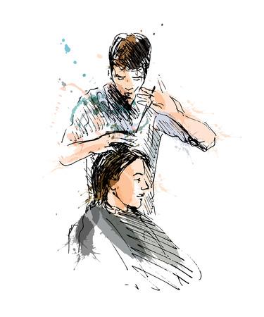 Colored hand sketch hairdresser. Vector illustration