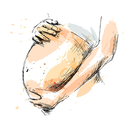 Colored hand sketch pregnant belly. Vector illustration