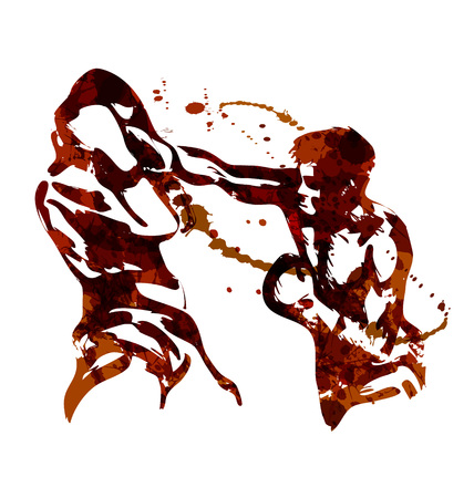 Watercolor vector illustration of two boxers