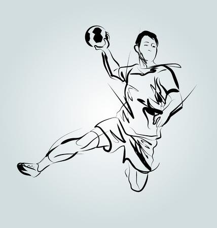 Vector lijnschets van een handbalspeler