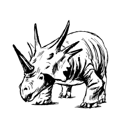 Hand sketch of prehistoric animal. Vector illustration