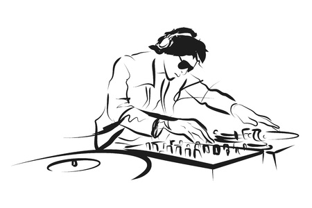 Vector Line sketch DJ