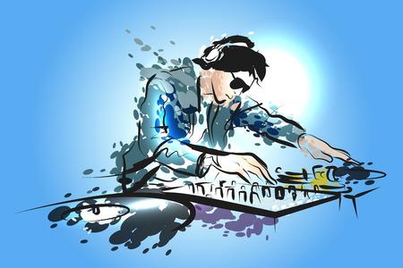 Colored vector line sketch DJ