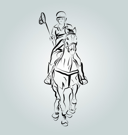 Vector Line illustration of a polo cross player Illustration