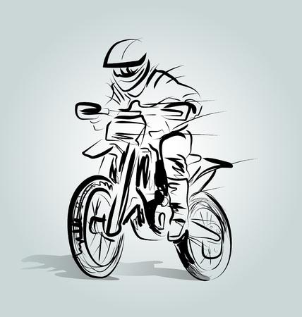 Vector Line schets van een motorcrosser