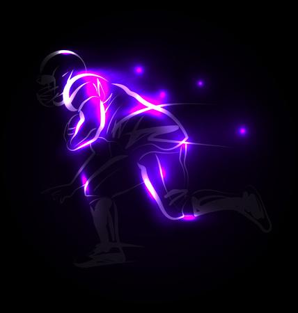 Vector Illustration american footballer on a dark background