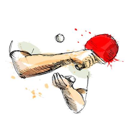 Colored hand sketch hand table tennis player. Vector illustration Illustration