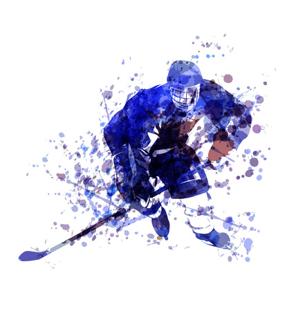 Vector Watercolor illustration of hockey player Vectores
