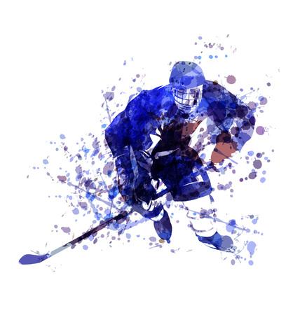 Vector Watercolor illustration of hockey player Illustration