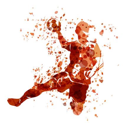 Vector Acuarela dibujo de un jugador de balonmano Foto de archivo - 76955489
