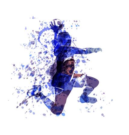 Vector schets van de waterverf van een handbal speler Stock Illustratie