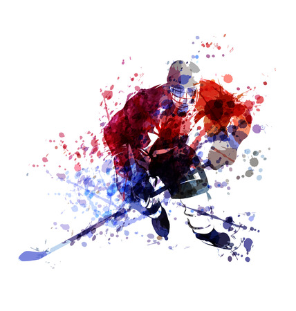 Vector colorful illustration of hockey player