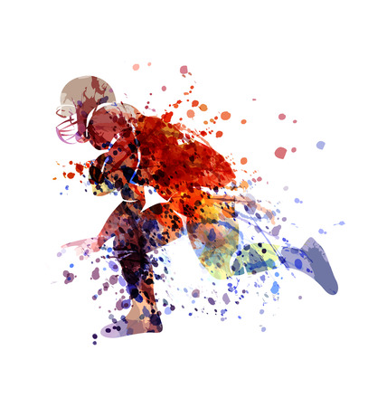 Vector colorful Sketch Player of American Football