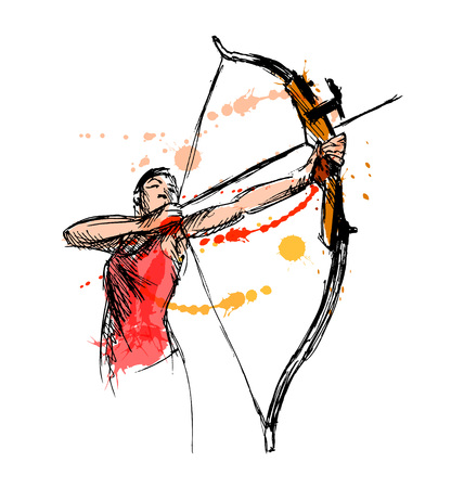 Colored hand sketch woman shooting a bow and arrow. Vector illustration