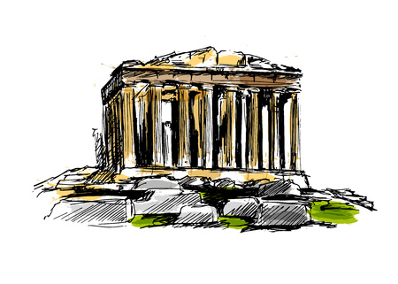 Colored hand sketch the Athenian Acropolis. Vector illustration