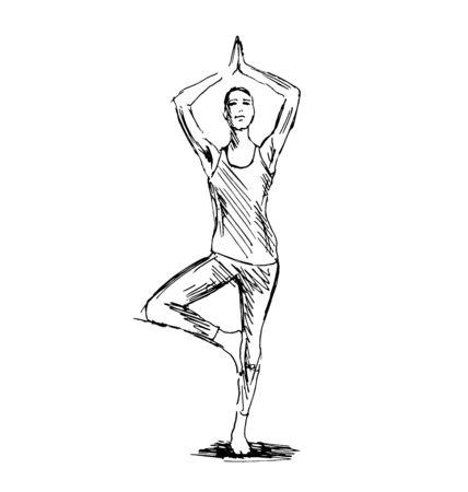 Hand sketch woman practicing yoga. Vector illustration Illustration