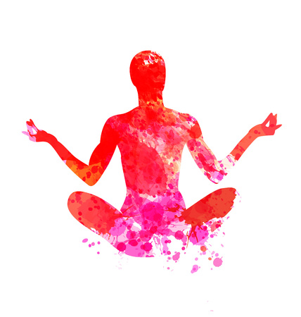 Watercolor vector silhouette of a meditating man