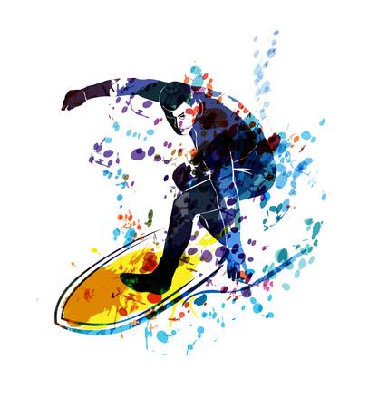 Watercolor vector silhouette surfer