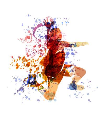 Vector watercolor illustration of a handball player