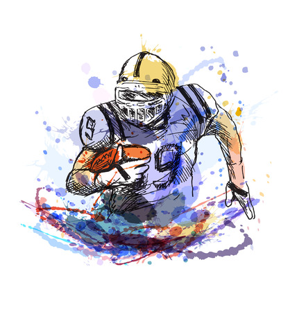 Colorful sketch player of American football. Vector illustration