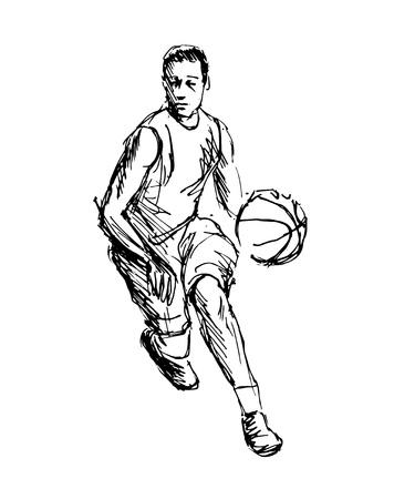 手スケッチ バスケット ボール選手のベクトル図  イラスト・ベクター素材