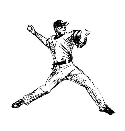 手スケッチ野球プレーヤー ベクトル図  イラスト・ベクター素材