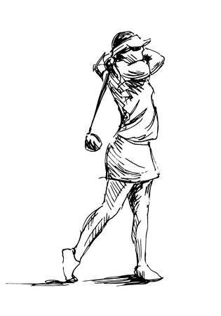 Hand sketch woman playing golf Vector illustration