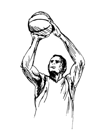 Hand Sketch Man Playing Basketball Vector illustration