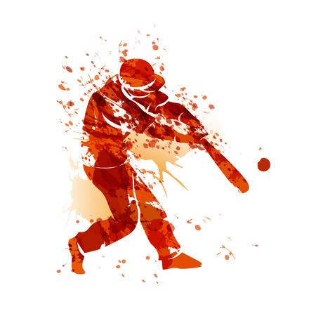 Vector watercolor silhouette of a baseball player Banco de Imagens - 79479753