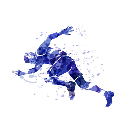 Vector watercolor silhouette of a running man Vector Illustration