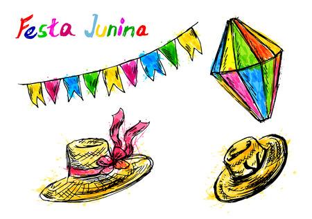 Gekleurde Festa junina handschetselementen. Vector illustratie
