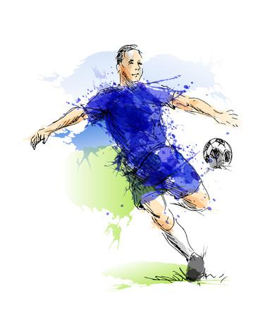 Colored hand sketch footballer. Vector illustration Illustration