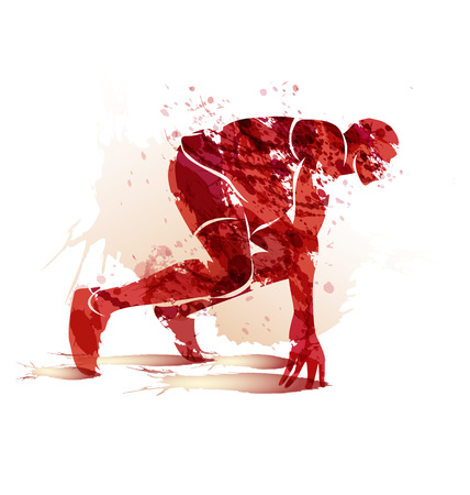 A Vector watercolor silhouette athlete on track starting to run. Illustration