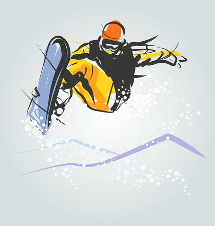 Vector illustration of snowboarder