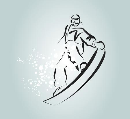 Vector line sketch snowboarder