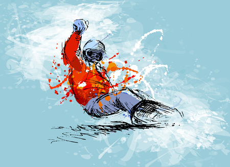 Colored hand sketch snowboarder