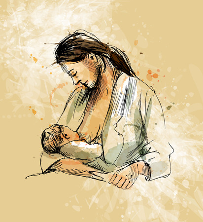 Colored hand sketch mother nursing baby Stock Illustratie