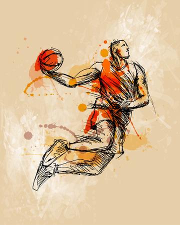 色手スケッチのバスケット ボール選手  イラスト・ベクター素材