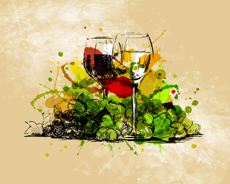 Colored hand sketch  glasses of wine