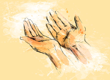 Colored hand sketch begging hands